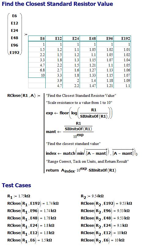 Figure 2: Algorithm for Selecting the Nearest Standard Resistor Value.