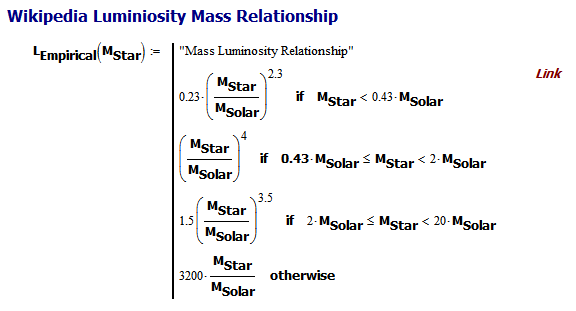 Figure 2: Mathcad Implementation of Luminosity vs Mass Relationship.