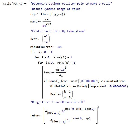 Figure M: Resistor Ratio Approximation Algorithm.