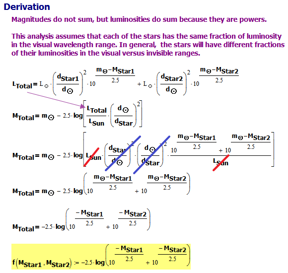 Figure 2:Derivation of the Apparent Magnitude of Two Stars.