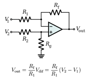 Figure 1: Differential Amplifer With Its Output Proportional to a Resistor Ratio.