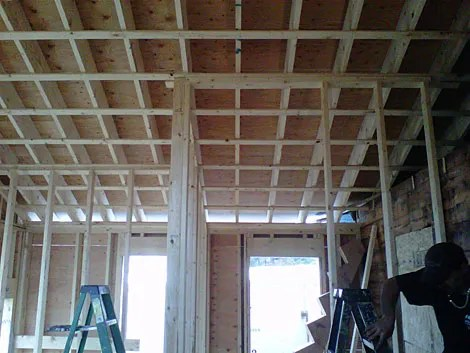 Figure M: Strapping Used to Provide Support for Sheetrock and Wiring Pass-Throughs.