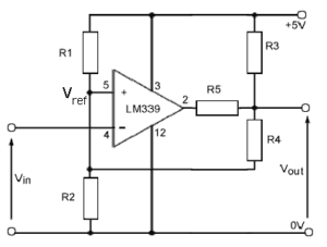 Figure 1: An Open-Drain Schmitt Trigger Circuit with Settable High and Low Output Levels.