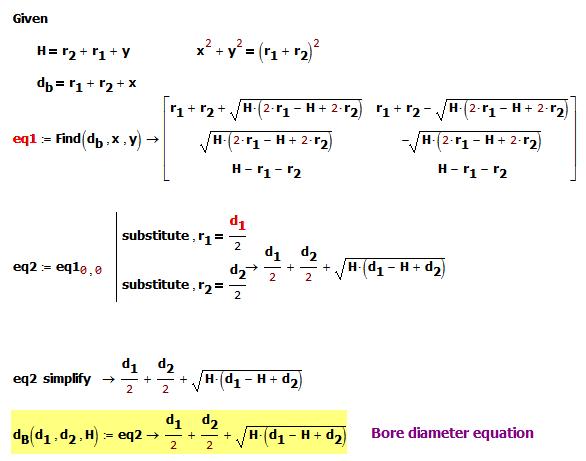 Figure 2: Derivation of Bore Diameter Formula.