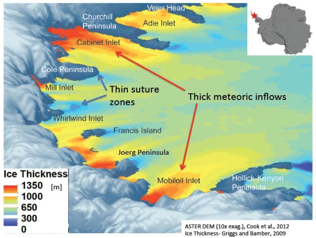Figure 2: Larsen C Ice Sheet Thickness.