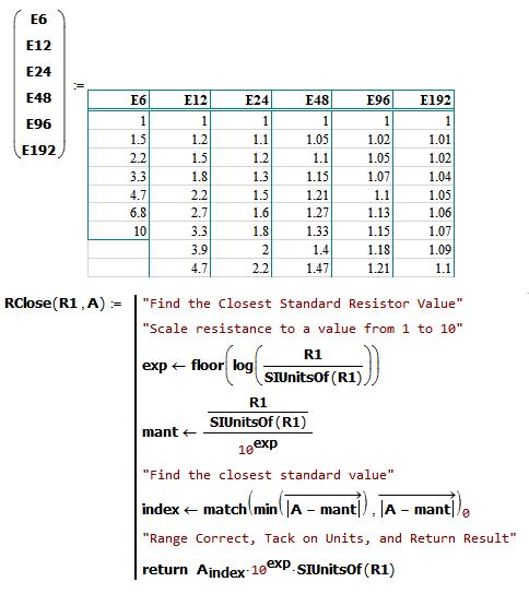 Figure M: Determining Closest Standard Resistor Value.