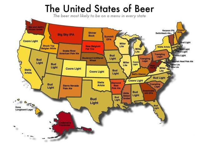 Figure M: Beers Most Likely on a Menu By State.