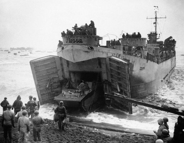 Figure M: LST Unloading at Iwo Jima.