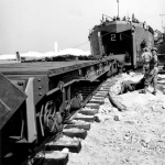 Figure 2: LST Unloading Rail Cars.