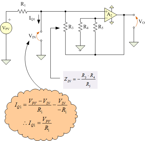 Figure 4: Schematic of Circuit Section that Generates A Q1 Current Proportional to the PV Voltage.