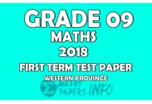 Photo of 2018 Grade 09 Mathematics First Term Test Paper   Western Province