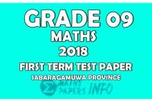 Photo of 2018 Grade 09 Mathematics First Term Test Paper   Sabaragamuwa Province