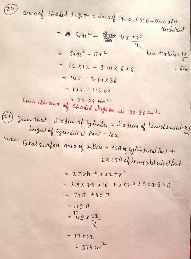 Class 10 Maths Exam Paper Section-C(Q20),(Q21 Option 1)