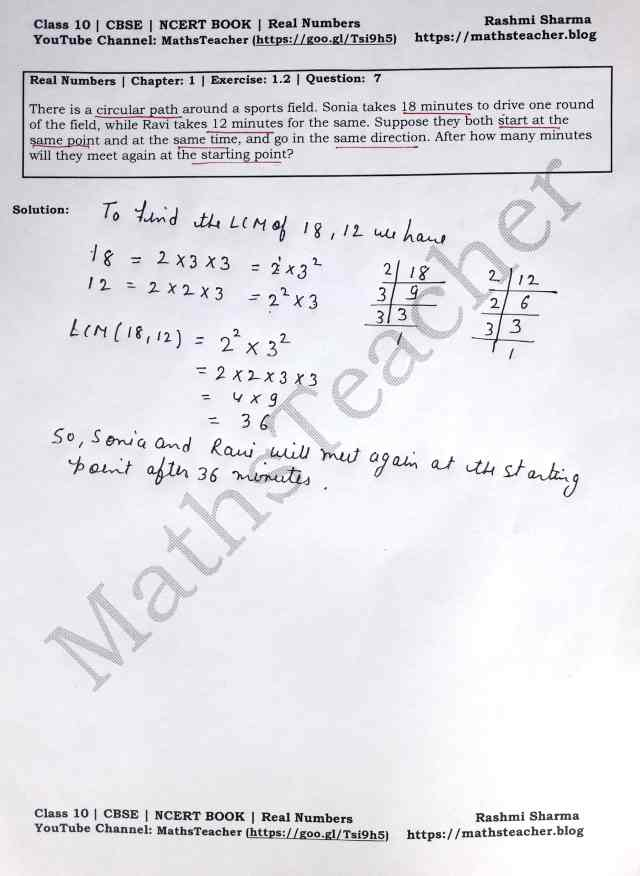 Class 10 Maths Real Numbers Exercise1.2 Question 7