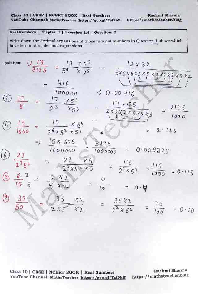 Class 10 Maths Real Numbers Exercise1.4 Question 2