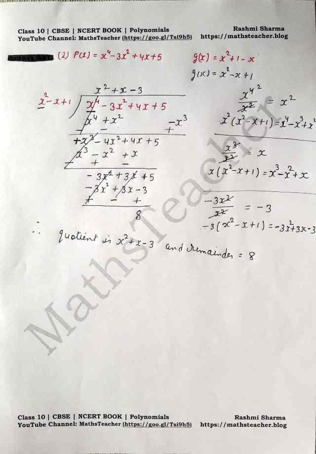 Class 10 Maths Chapter 2 Polynomials Ex 2.3 Question 1(ii)