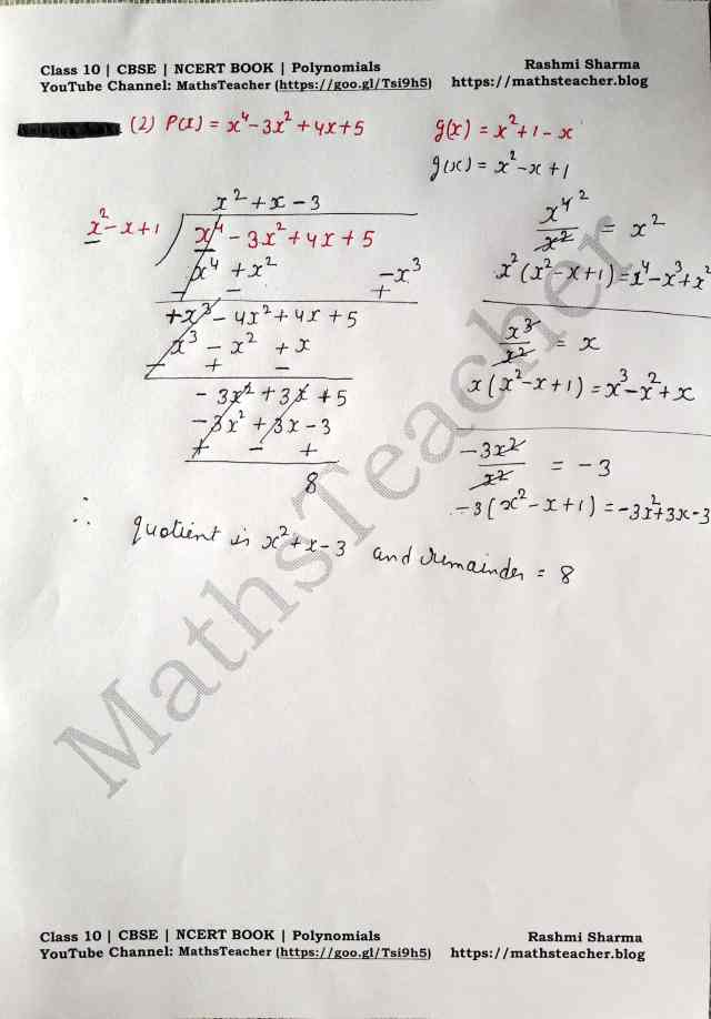 Class 10 Maths Chapter 2 Polynomials Ex 2.3 Question 1(ii)