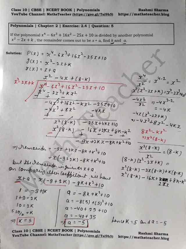 Class 10 Maths Chapter 2 Polynomials Ex 2.4 Question 5