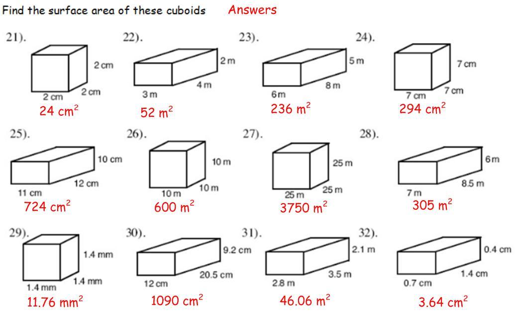 Surface Area Maths Teaching
