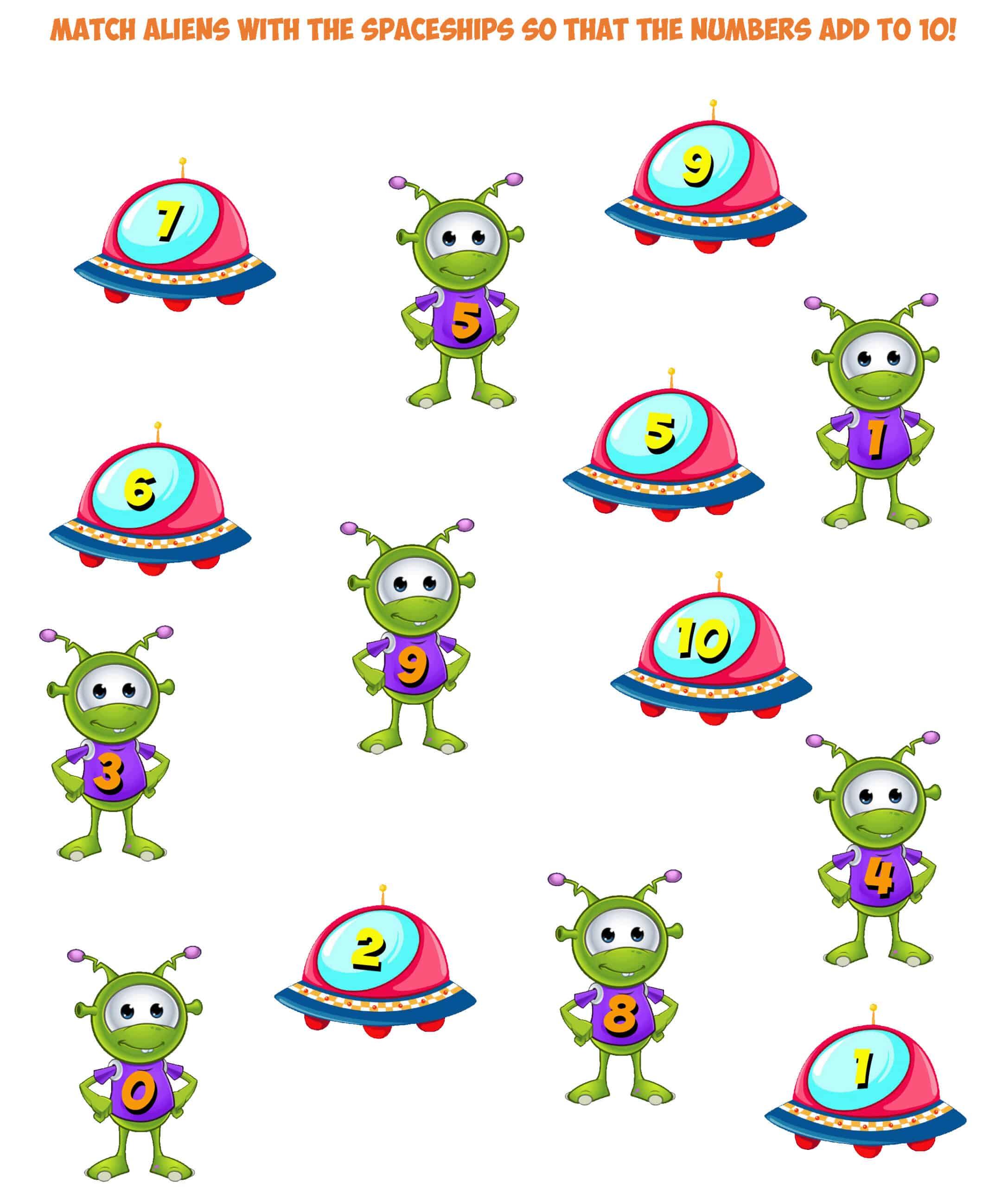 Alien Match Worksheet Add To 10
