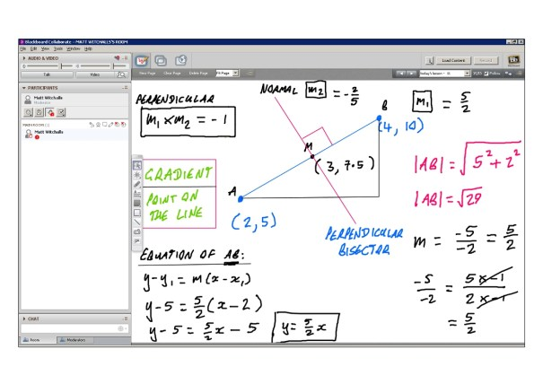 An example of online maths tuition for C1 Core Maths. The topic is coordinate geometry.