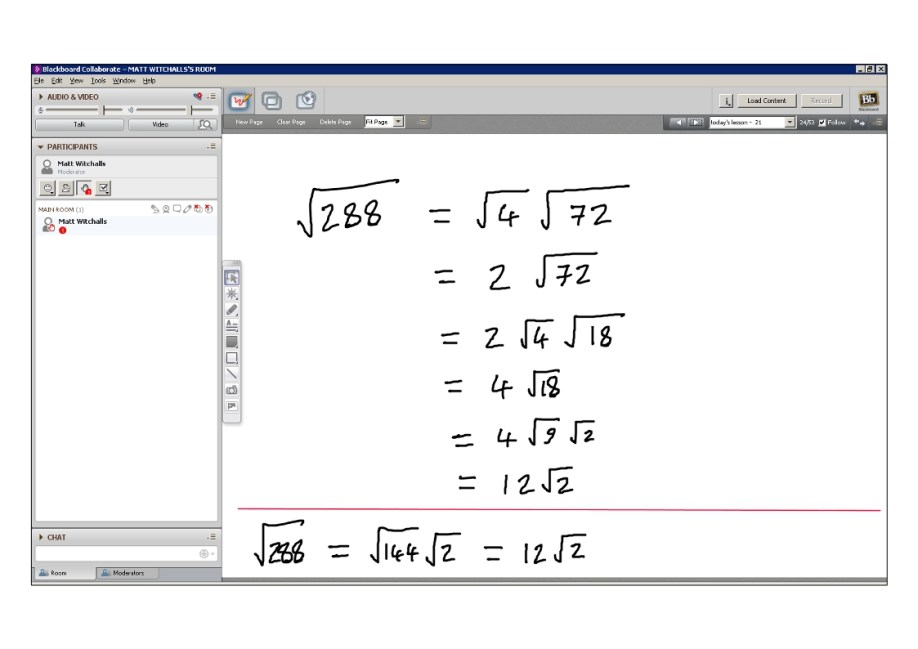 An example of online maths tuition for C1 Core Maths. The topic is surds.
