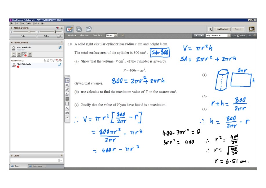An example of online maths tuition for C2 Core Maths. The topic is differentiation and the problem involves finding the maximum volume of a cylinder if it has a fixed surface area.