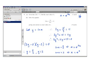 An example of online maths tuition for C3 Core Maths. The topic is natural logarithms.