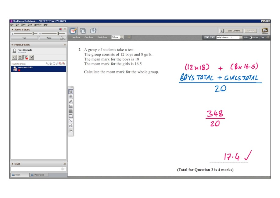 An example of online maths tuition for GCSE or IGCSE level. The topic is calculating the mean.