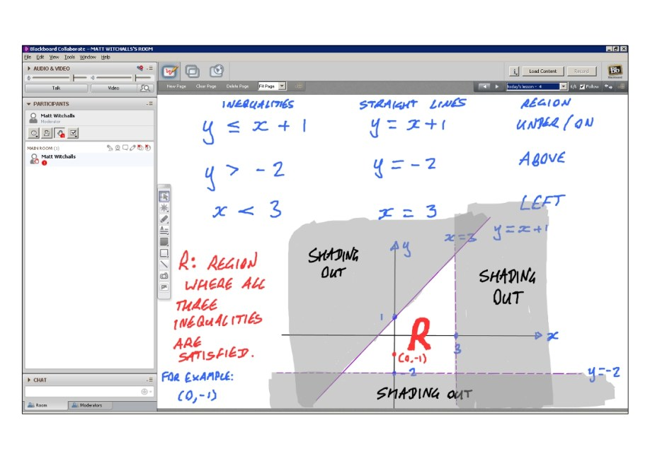An example of online maths tuition for GCSE or IGCSE level. The topic is graphs of inequalities.
