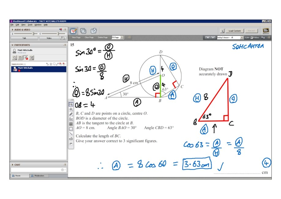 An example of online maths tuition for GCSE or IGCSE level. The topic is trigonometry.