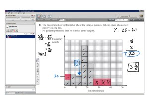 An example of online maths tuition for GCSE or IGCSE level. The topic is histograms.