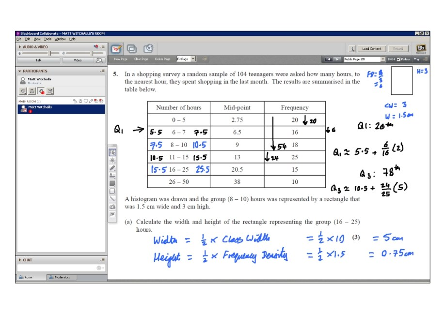 An example of online maths tuition for S1 Statistics. The topic is linear interpolation and the problem involves calculating the upper and lower quartiles for a grouped frequency table.