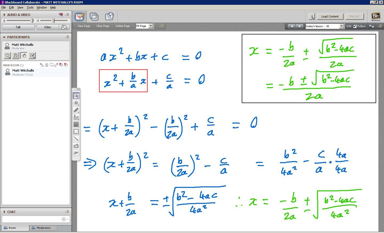 Derive Quadratic Formula Worksheet