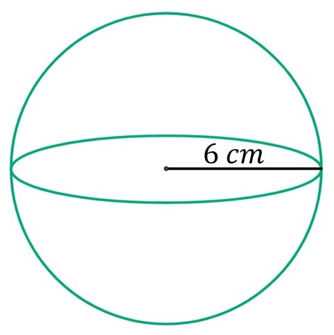 Find the volume of a sphere when the radius of the sphere is 6 cm
