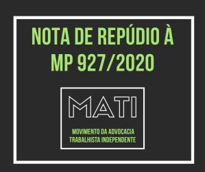 NOTA DO MATI DE REPÚDIO À MP 927/2020