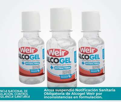 ARCSA retira del mercado el alcohol gel de la marca Weir