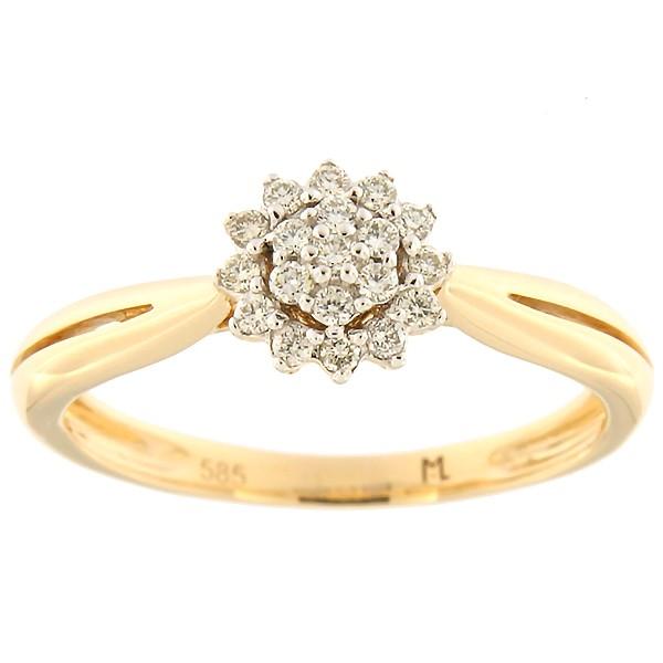 Kullast sõrmus teemantiga 0,14 ct. Kood: 168ak