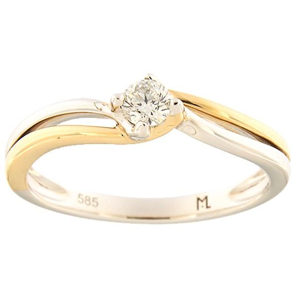 Kullast sõrmus teemantiga 0,16 ct. Kood: 169ak