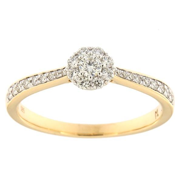 Kullast sõrmus teemantidega 0,27 ct. Kood: 196ak