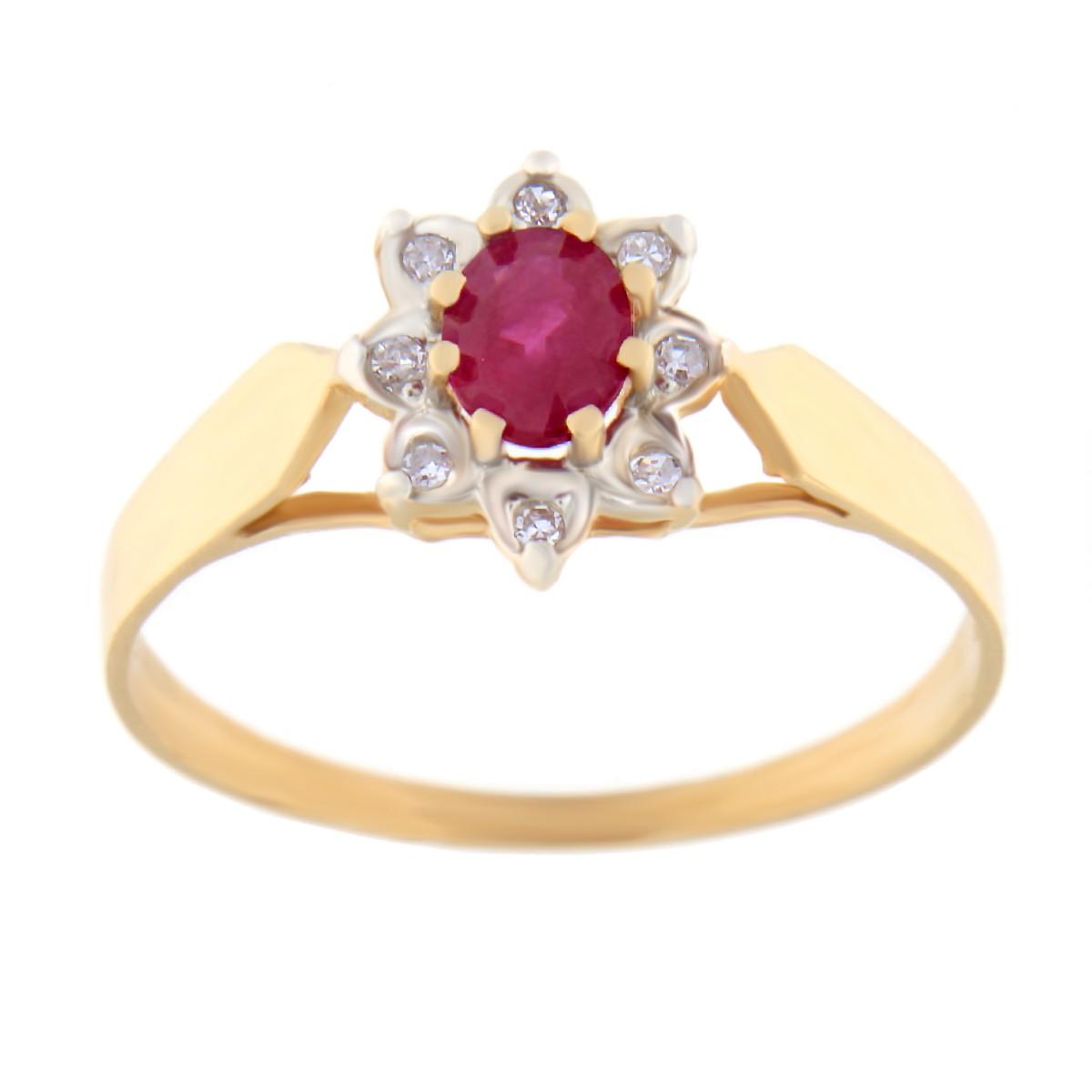 Kullast sõrmus teemandite ja rubiiniga Kood: 1ct