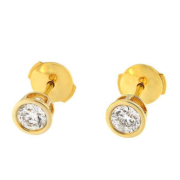 Kullast kõrvarõngad teemandiga 0,60 ct. Kood: 30an