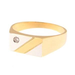 Gold men's ring with diamond Code: 338b
