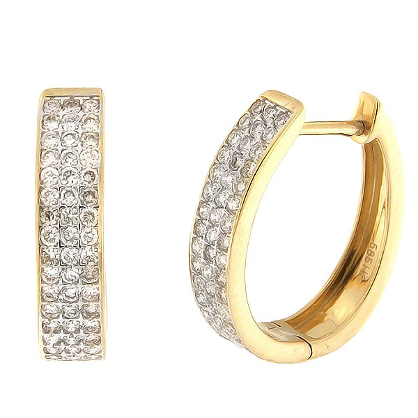 Золотые серьги с бриллиантами 1,00 ct. Kод: 46ha