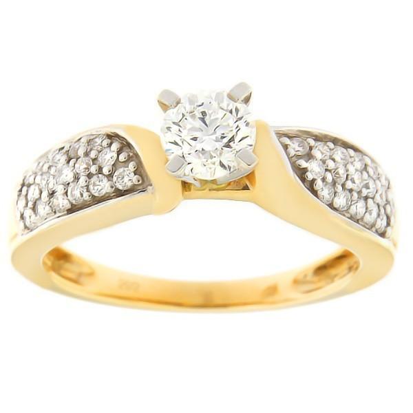 Kullast sõrmus teemantidega 0,75 ct. Kood: 54ab