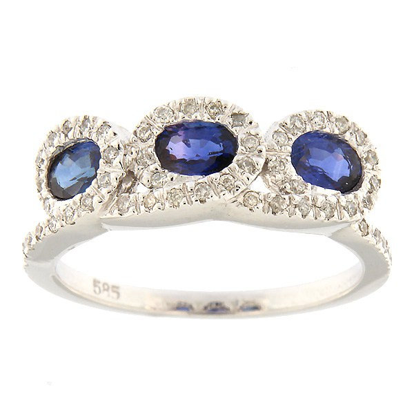 Gold ring with diamonds and sapphire Code: 68sb