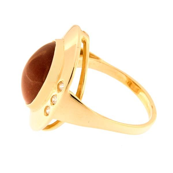 Kullast sõrmus päikesekivi ja tsirkoonidega Kood: 809wp224-1