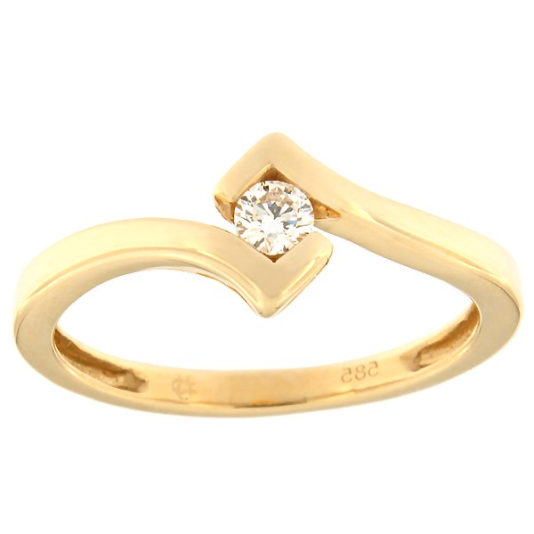 Gold ring with diamond 0,10 ct. Code: 83af