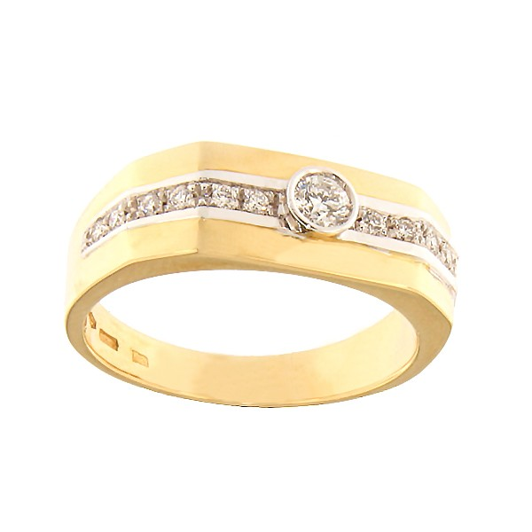 Gold men's ring with diamonds Code: 966b
