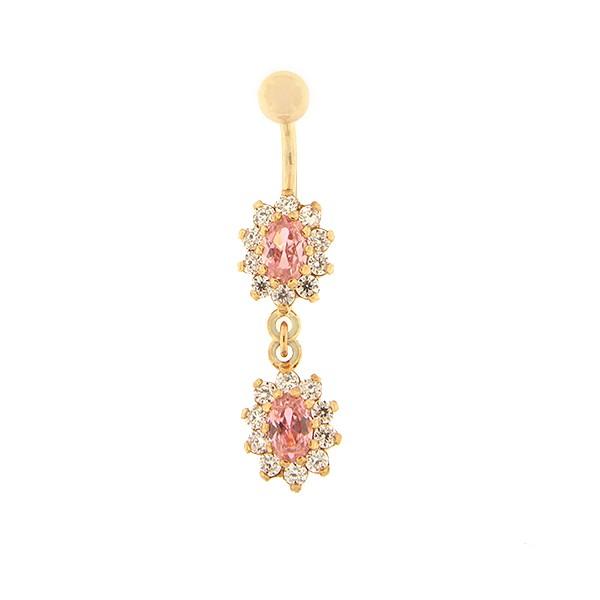 Золотое кольцо в пупок с цирконом Kод: pn0146-roosa-roosa